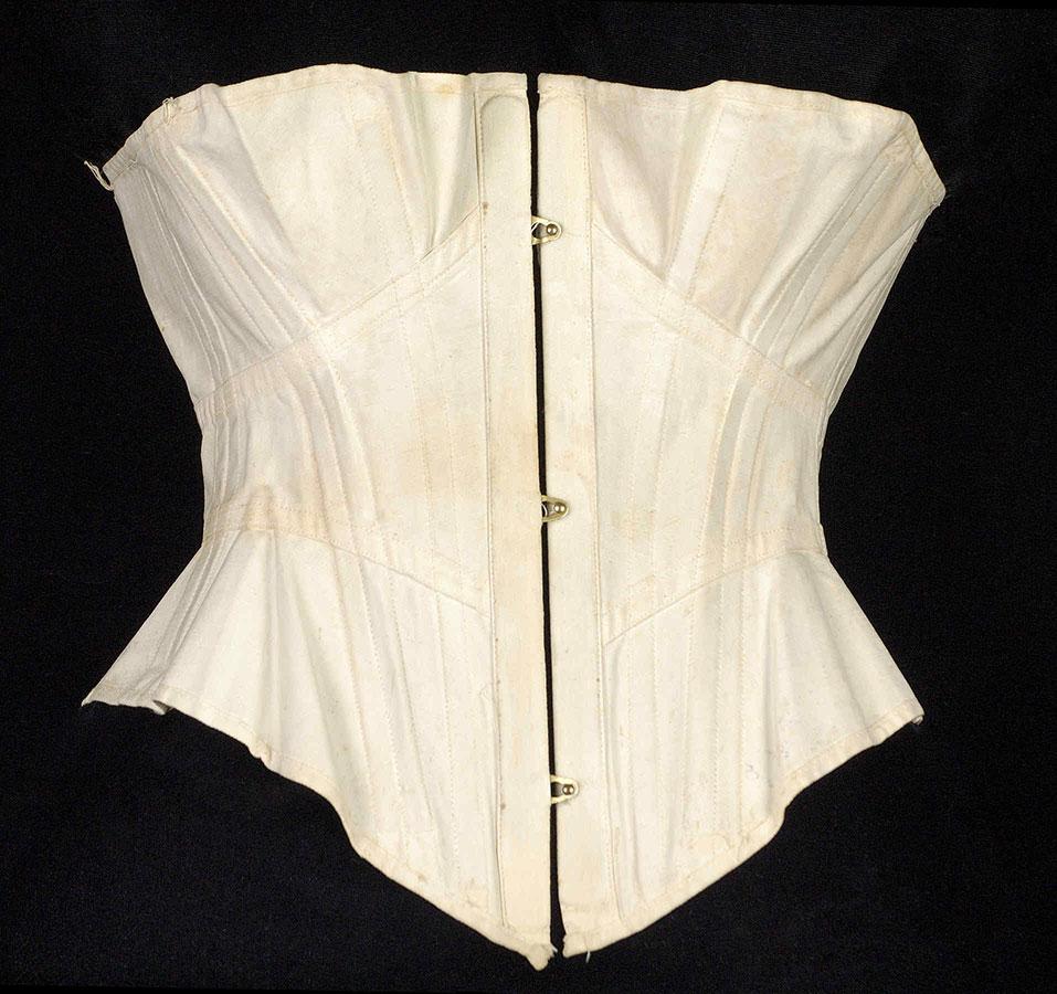 Basic mid-Victorian era mass-market manufactured corset with dividing busk